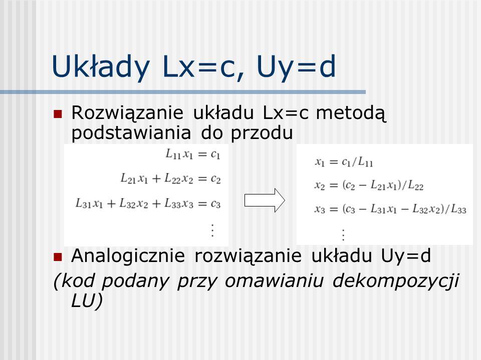 Układy Lx=c, Uy=d Rozwiązanie układu Lx=c metodą podstawiania do przodu. Analogicznie rozwiązanie układu Uy=d.