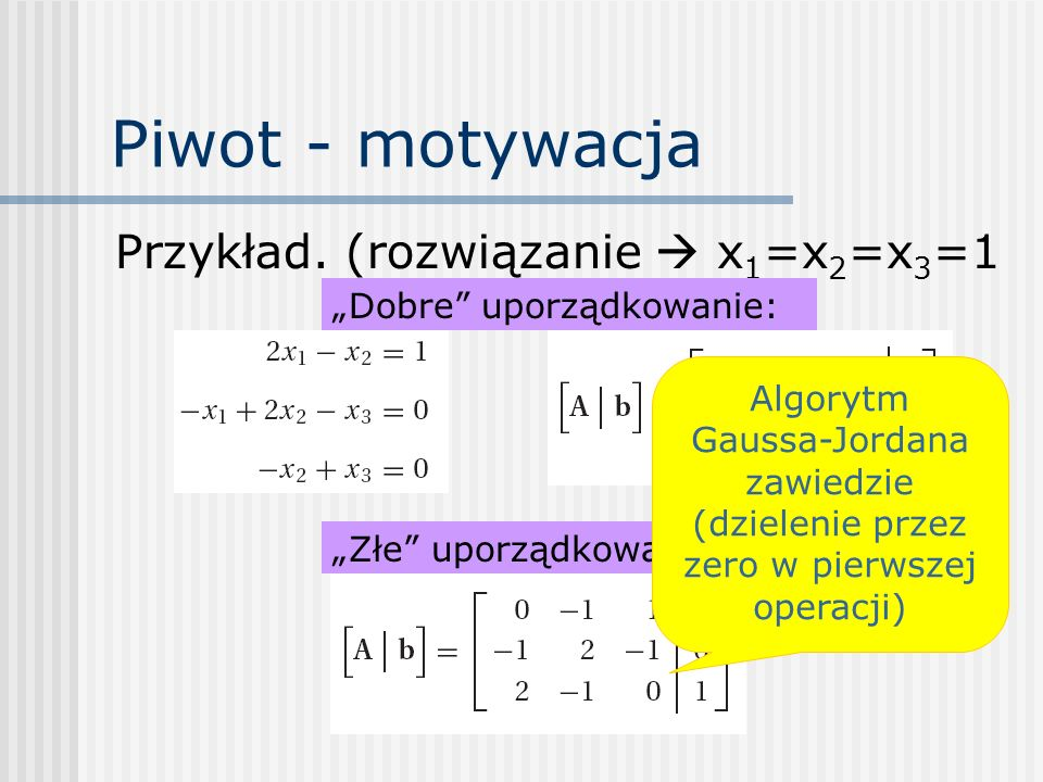 Piwot - motywacja Przykład. (rozwiązanie  x1=x2=x3=1