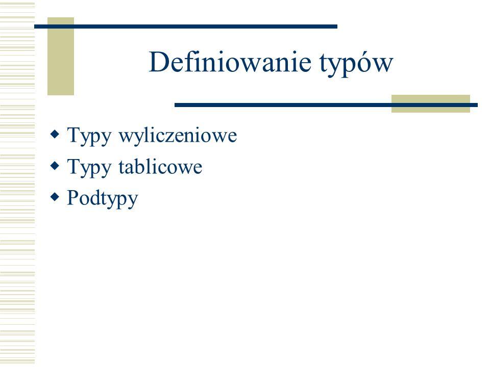 Definiowanie typów Typy wyliczeniowe Typy tablicowe Podtypy