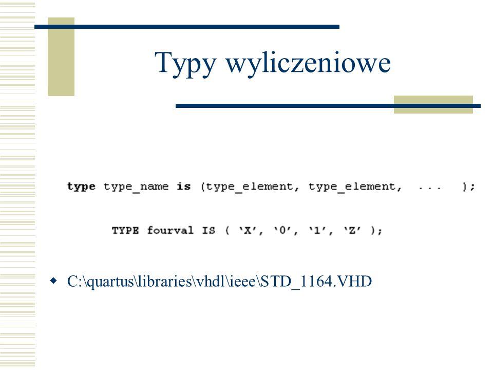 Typy wyliczeniowe C:\quartus\libraries\vhdl\ieee\STD_1164.VHD