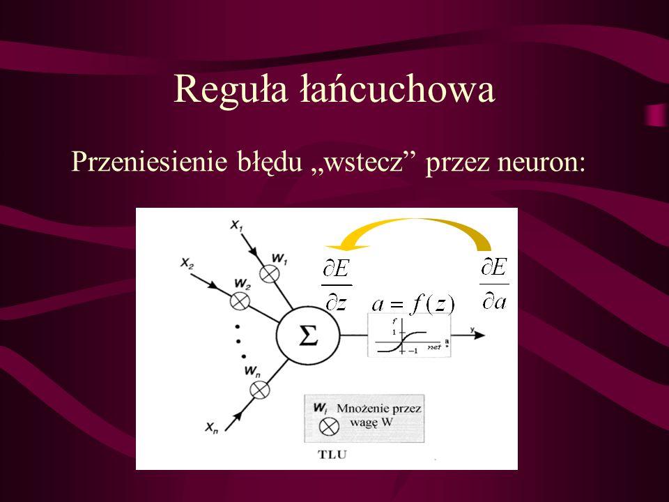 """Przeniesienie błędu """"wstecz przez neuron:"""
