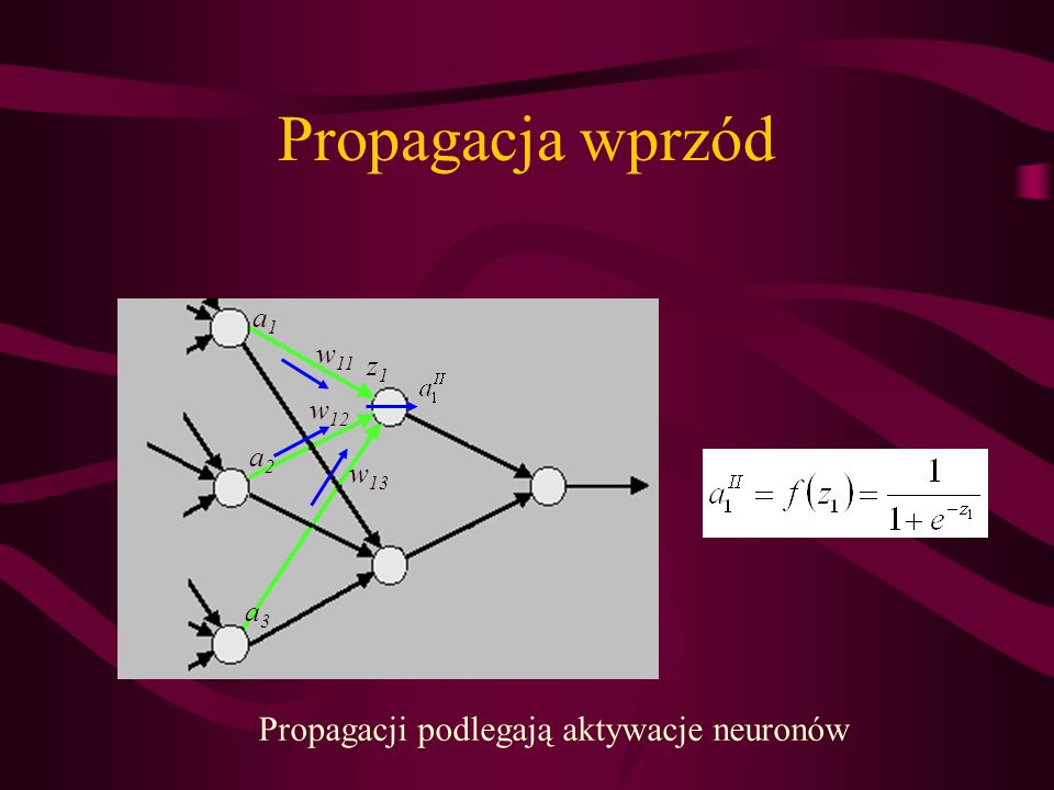 Propagacji podlegają aktywacje neuronów
