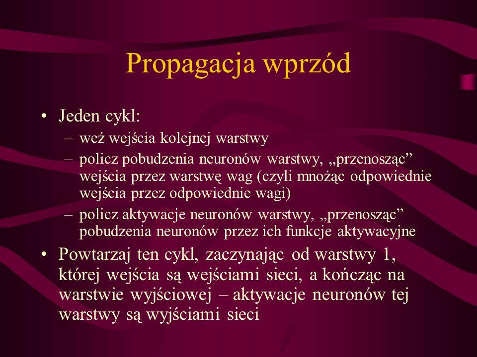 Propagacja wprzód Jeden cykl: