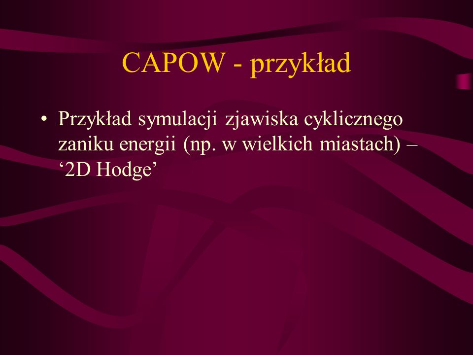 CAPOW - przykładPrzykład symulacji zjawiska cyklicznego zaniku energii (np. w wielkich miastach) – '2D Hodge'