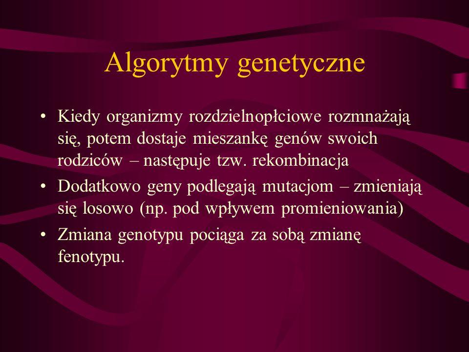 Algorytmy genetyczne Kiedy organizmy rozdzielnopłciowe rozmnażają się, potem dostaje mieszankę genów swoich rodziców – następuje tzw. rekombinacja.