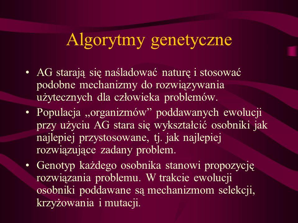 Algorytmy genetyczne AG starają się naśladować naturę i stosować podobne mechanizmy do rozwiązywania użytecznych dla człowieka problemów.