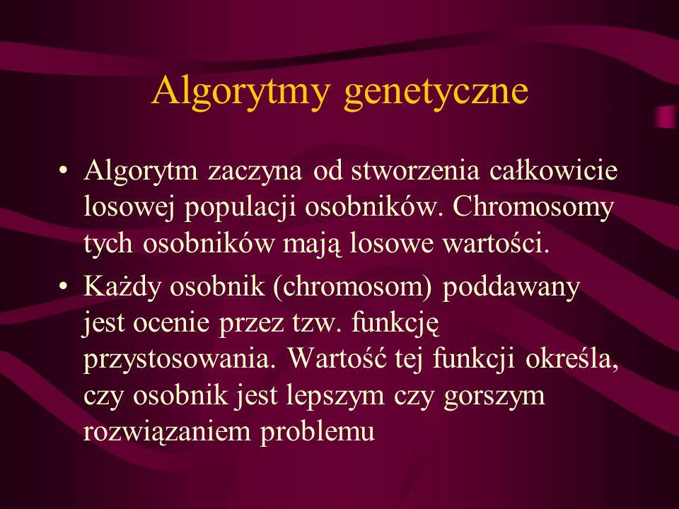 Algorytmy genetyczneAlgorytm zaczyna od stworzenia całkowicie losowej populacji osobników. Chromosomy tych osobników mają losowe wartości.