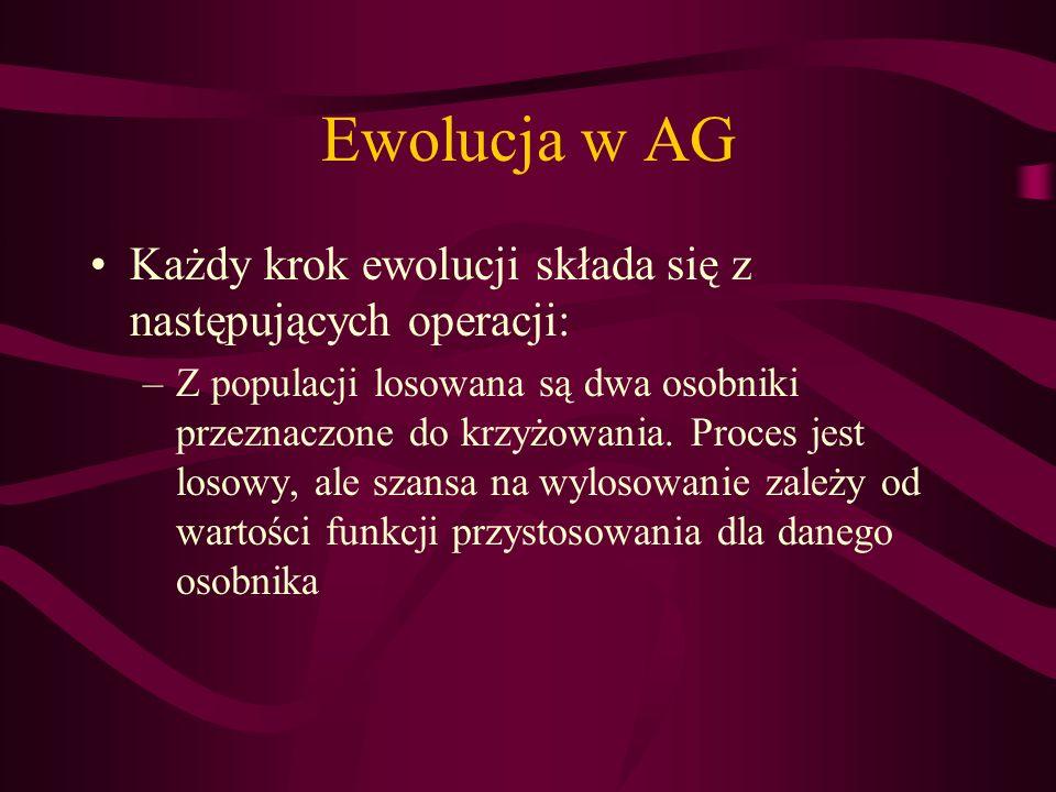 Ewolucja w AG Każdy krok ewolucji składa się z następujących operacji: