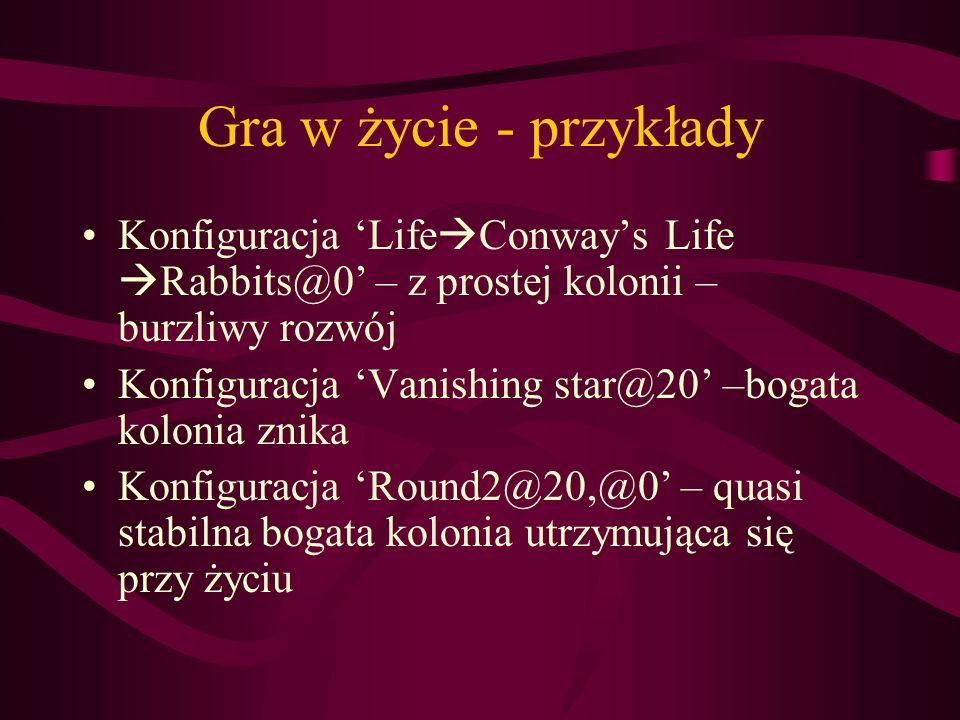 Gra w życie - przykłady Konfiguracja 'LifeConway's Life Rabbits@0' – z prostej kolonii – burzliwy rozwój.