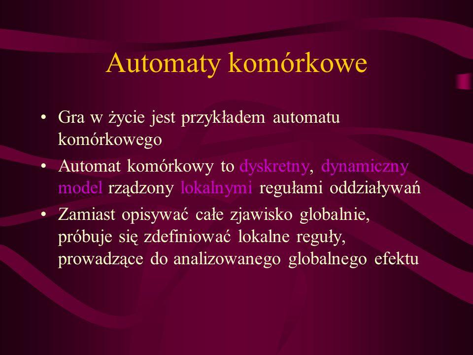 Automaty komórkowe Gra w życie jest przykładem automatu komórkowego