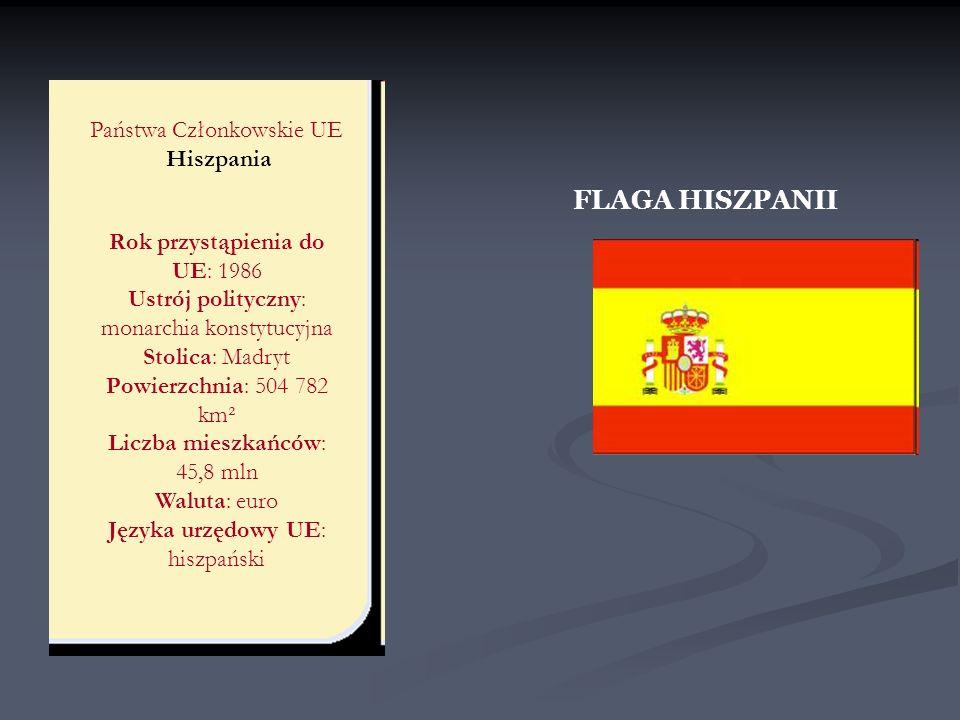 FLAGA HISZPANII Państwa Członkowskie UE Hiszpania