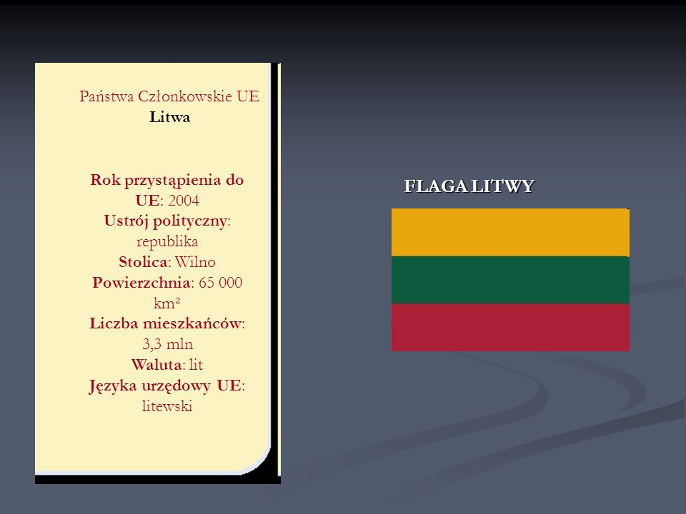 FLAGA LITWY Państwa Członkowskie UE Litwa