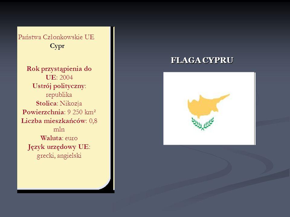 FLAGA CYPRU Państwa Członkowskie UE Cypr Rok przystąpienia do UE: 2004
