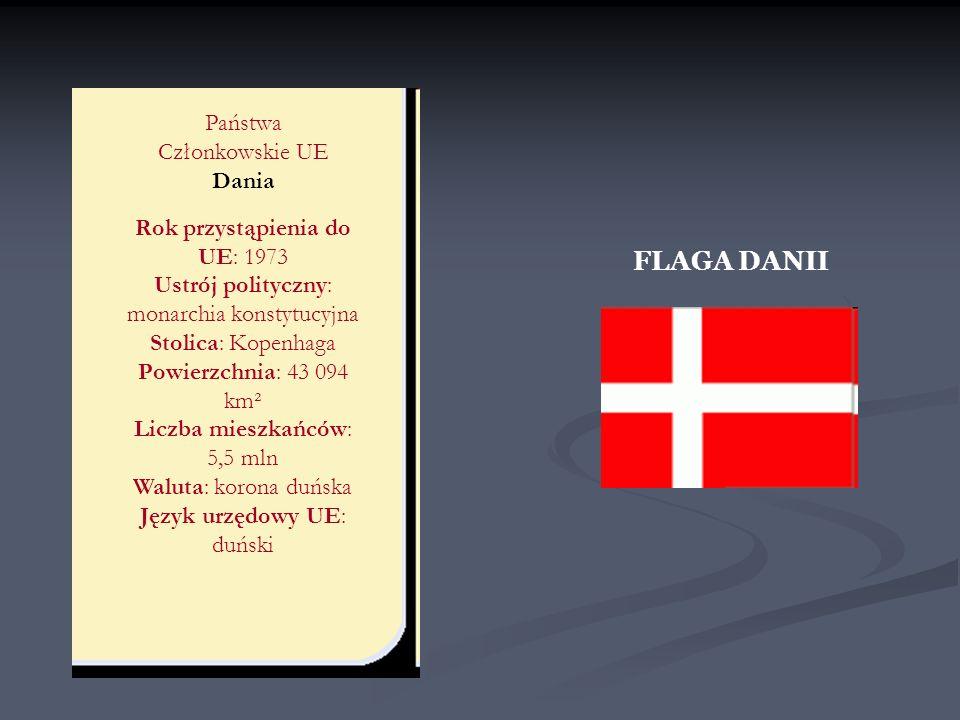 FLAGA DANII Państwa Członkowskie UE Dania