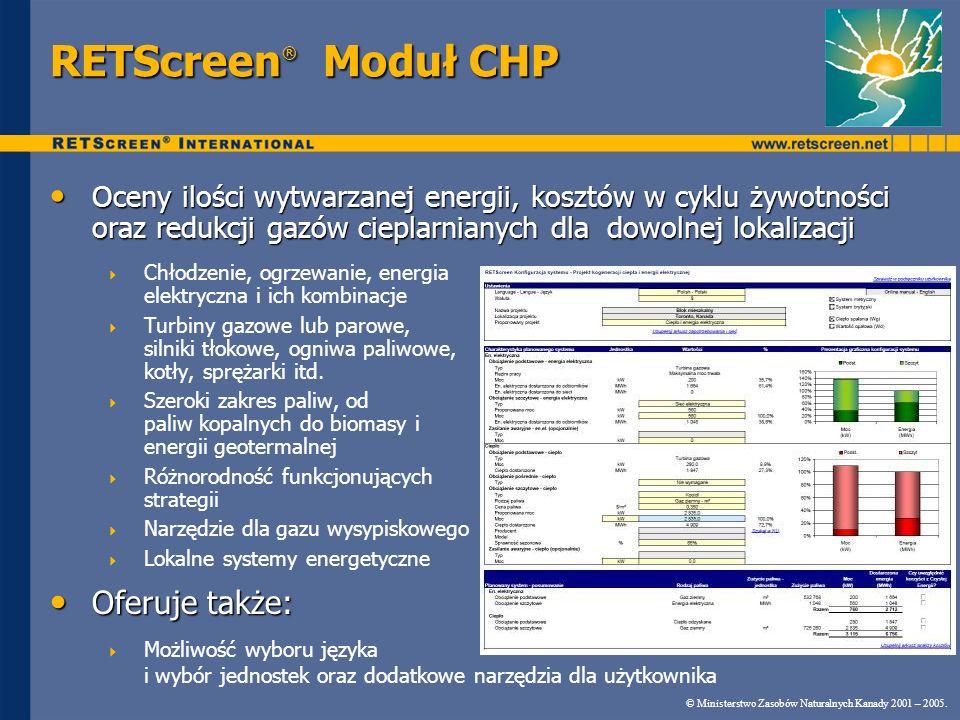 RETScreen® Moduł CHP Oferuje także: