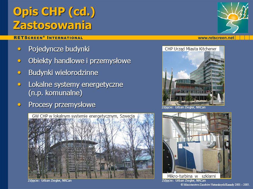 Opis CHP (cd.) Zastosowania Pojedyncze budynki