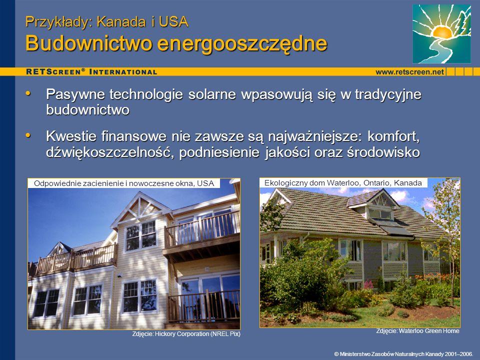 Przykłady: Kanada i USA Budownictwo energooszczędne