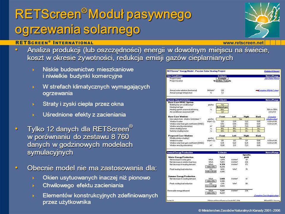 RETScreen® Moduł pasywnego ogrzewania solarnego