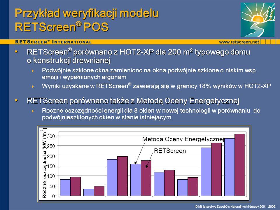 Przykład weryfikacji modelu RETScreen® POS