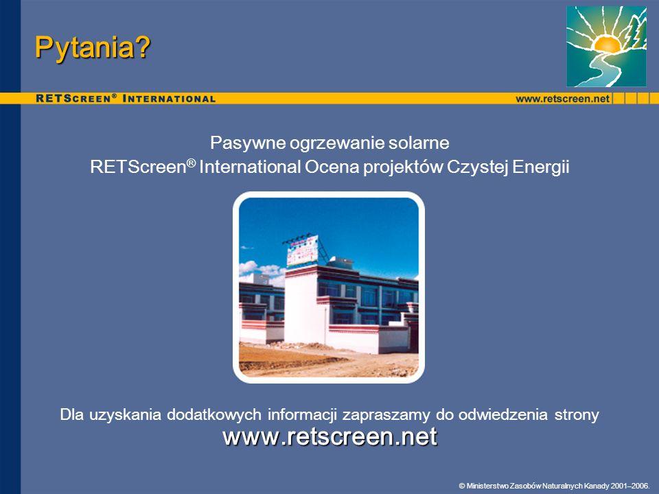 Pytania www.retscreen.net Pasywne ogrzewanie solarne