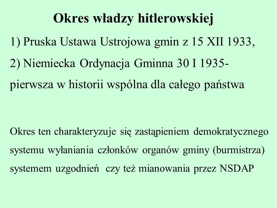 Okres władzy hitlerowskiej
