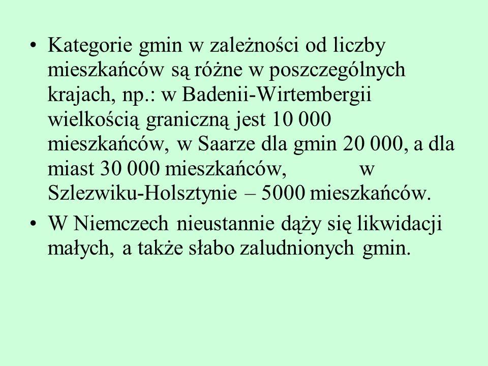 Kategorie gmin w zależności od liczby mieszkańców są różne w poszczególnych krajach, np.: w Badenii-Wirtembergii wielkością graniczną jest 10 000 mieszkańców, w Saarze dla gmin 20 000, a dla miast 30 000 mieszkańców, w Szlezwiku-Holsztynie – 5000 mieszkańców.