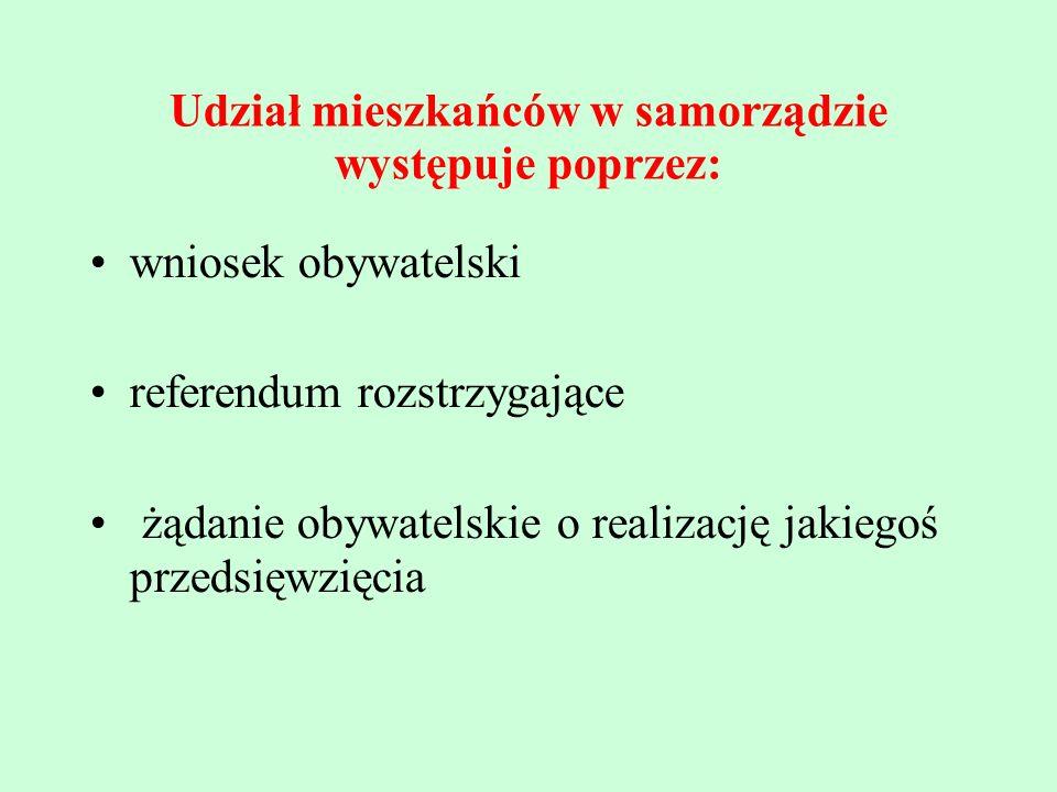 Udział mieszkańców w samorządzie występuje poprzez: