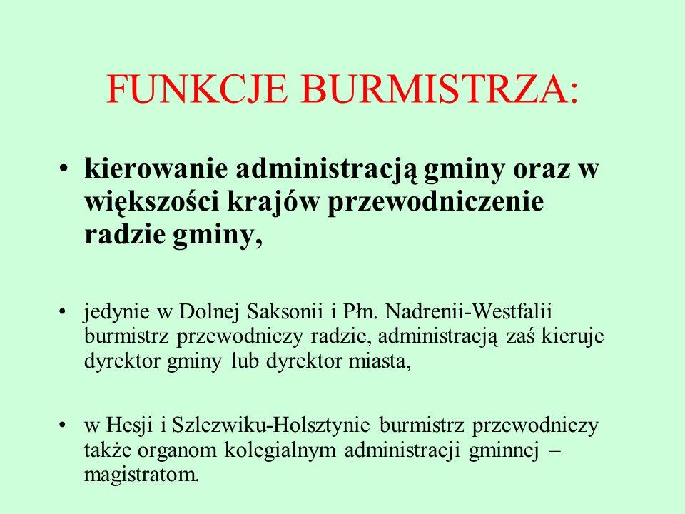 FUNKCJE BURMISTRZA: kierowanie administracją gminy oraz w większości krajów przewodniczenie radzie gminy,