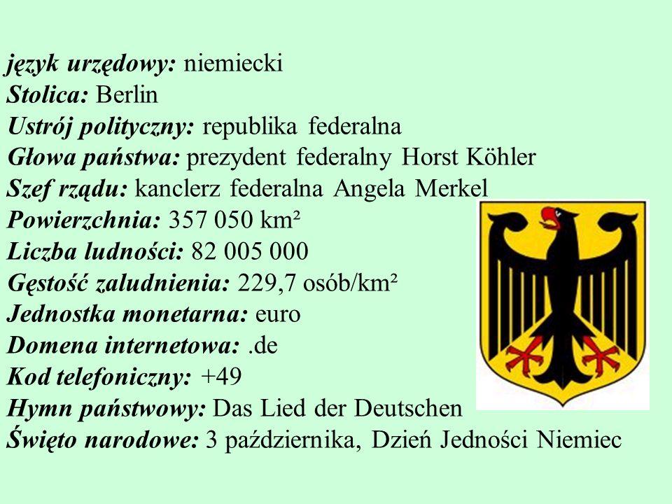 język urzędowy: niemiecki Stolica: Berlin Ustrój polityczny: republika federalna Głowa państwa: prezydent federalny Horst Köhler Szef rządu: kanclerz federalna Angela Merkel Powierzchnia: 357 050 km² Liczba ludności: 82 005 000 Gęstość zaludnienia: 229,7 osób/km² Jednostka monetarna: euro Domena internetowa: .de Kod telefoniczny: +49 Hymn państwowy: Das Lied der Deutschen Święto narodowe: 3 października, Dzień Jedności Niemiec