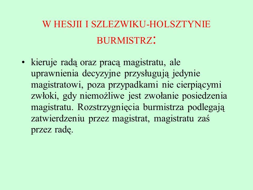 W HESJII I SZLEZWIKU-HOLSZTYNIE BURMISTRZ: