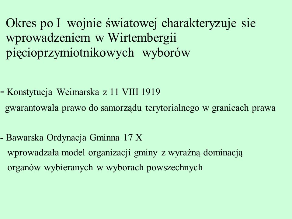- Konstytucja Weimarska z 11 VIII 1919