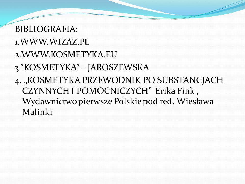 BIBLIOGRAFIA: 1. WWW. WIZAZ. PL 2. WWW. KOSMETYKA. EU 3