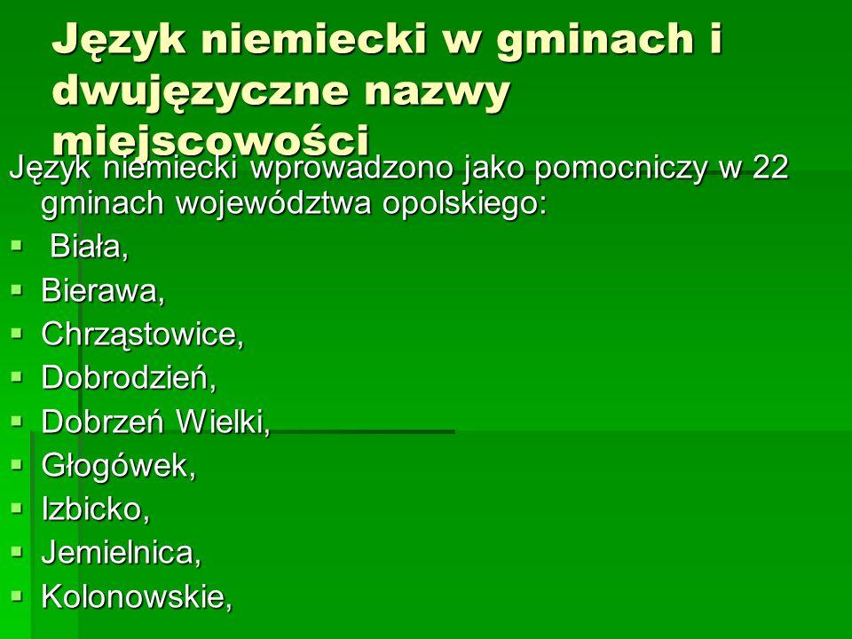 Język niemiecki w gminach i dwujęzyczne nazwy miejscowości