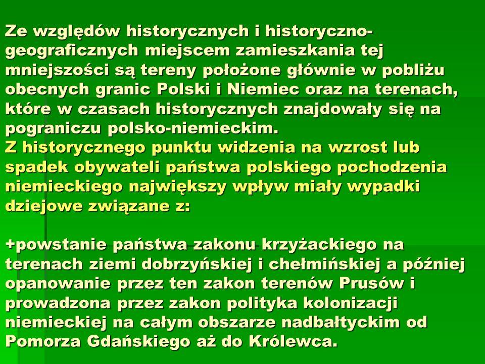 Ze względów historycznych i historyczno-geograficznych miejscem zamieszkania tej mniejszości są tereny położone głównie w pobliżu obecnych granic Polski i Niemiec oraz na terenach, które w czasach historycznych znajdowały się na pograniczu polsko-niemieckim.