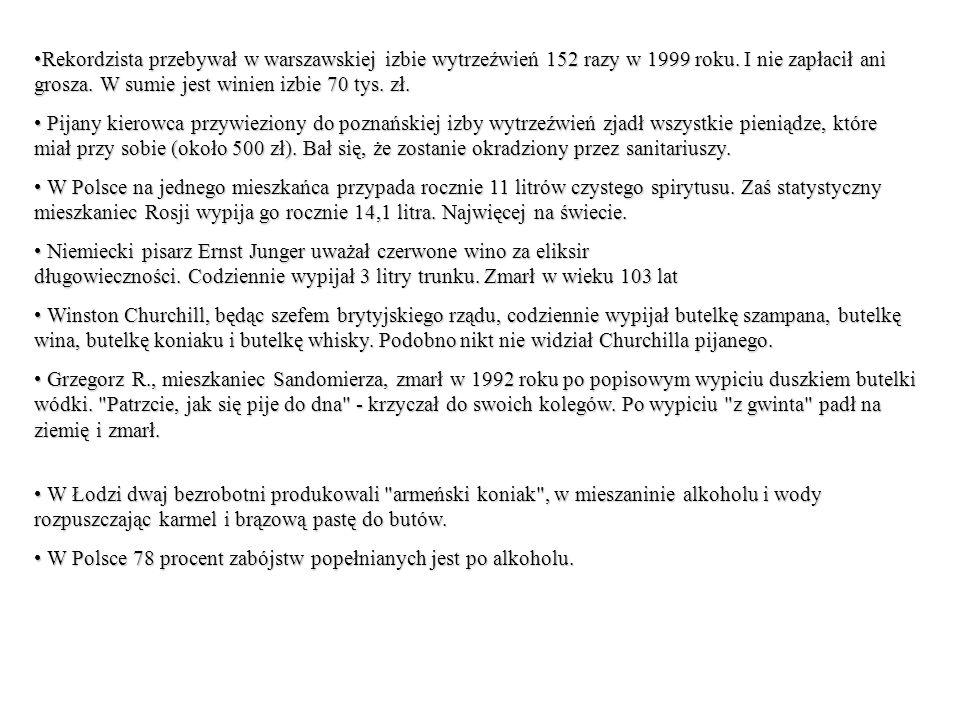 Rekordzista przebywał w warszawskiej izbie wytrzeźwień 152 razy w 1999 roku. I nie zapłacił ani grosza. W sumie jest winien izbie 70 tys. zł.