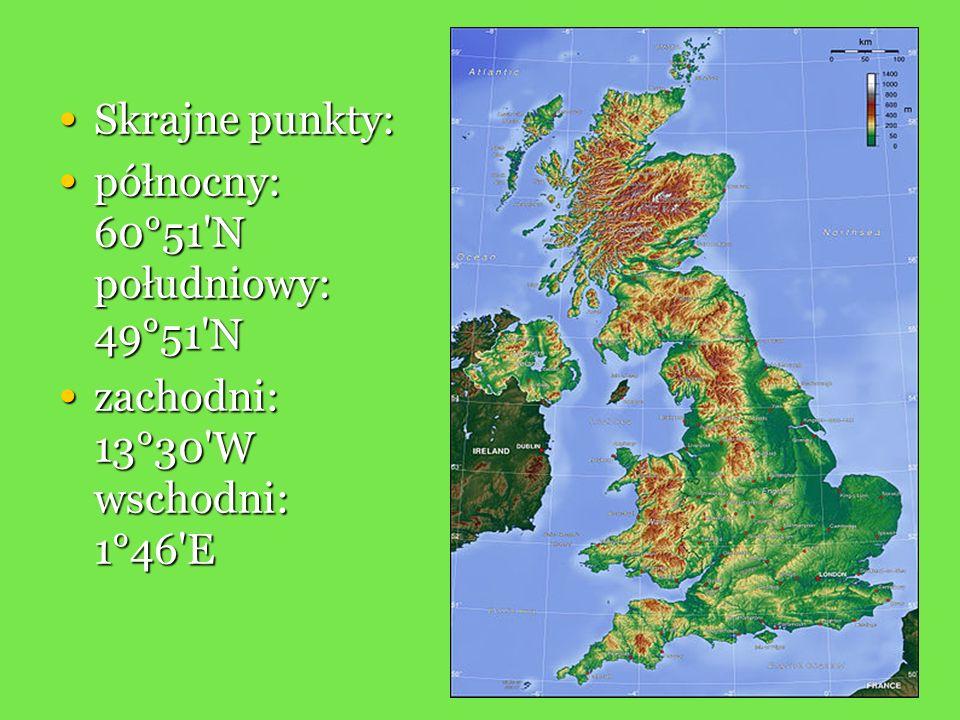 Skrajne punkty: północny: 60°51 N południowy: 49°51 N zachodni: 13°30 W wschodni: 1°46 E