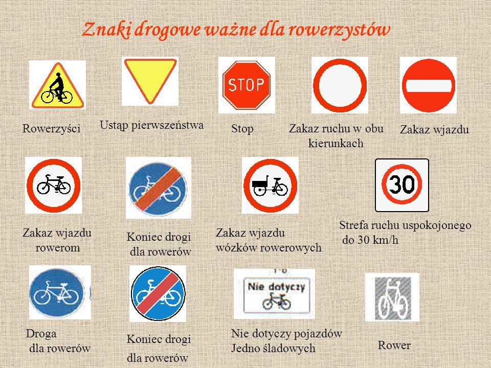 Znaki drogowe ważne dla rowerzystów