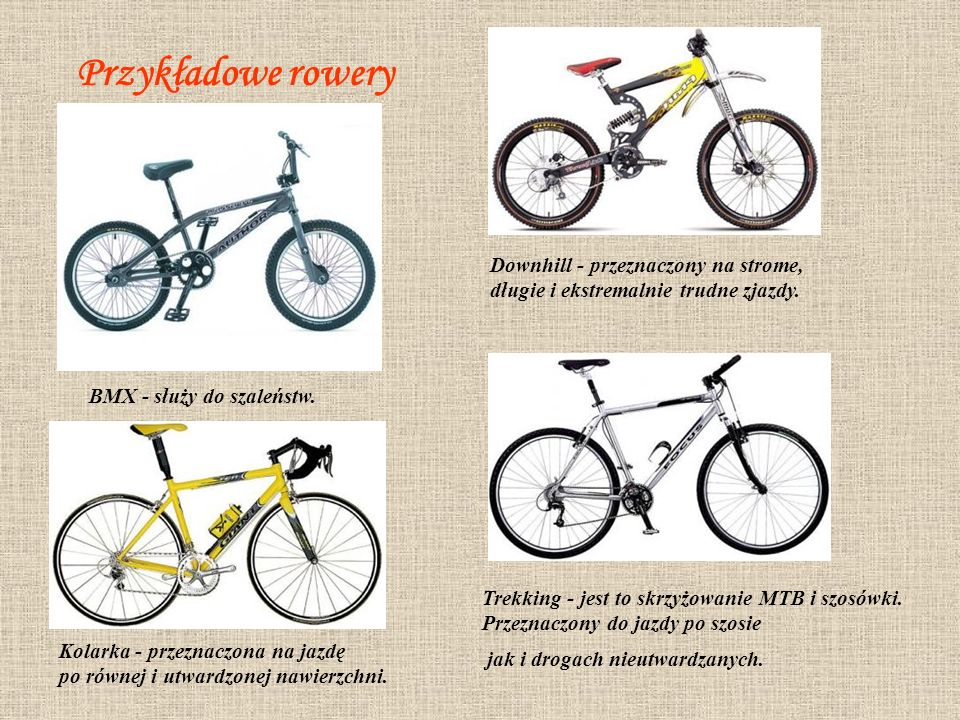Przykładowe rowery Downhill - przeznaczony na strome,