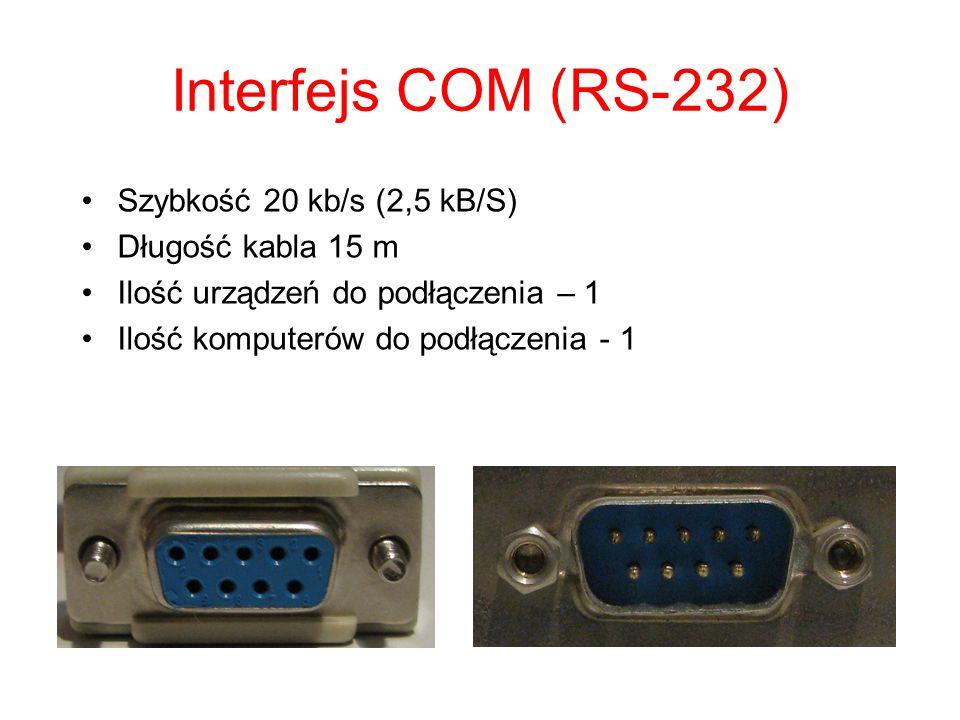 Interfejs COM (RS-232) Szybkość 20 kb/s (2,5 kB/S) Długość kabla 15 m