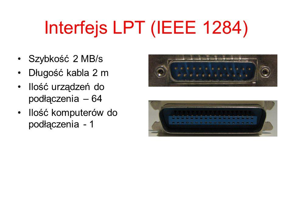 Interfejs LPT (IEEE 1284) Szybkość 2 MB/s Długość kabla 2 m