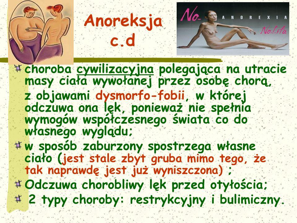Anoreksja c.d choroba cywilizacyjna polegająca na utracie masy ciała wywołanej przez osobę chorą,