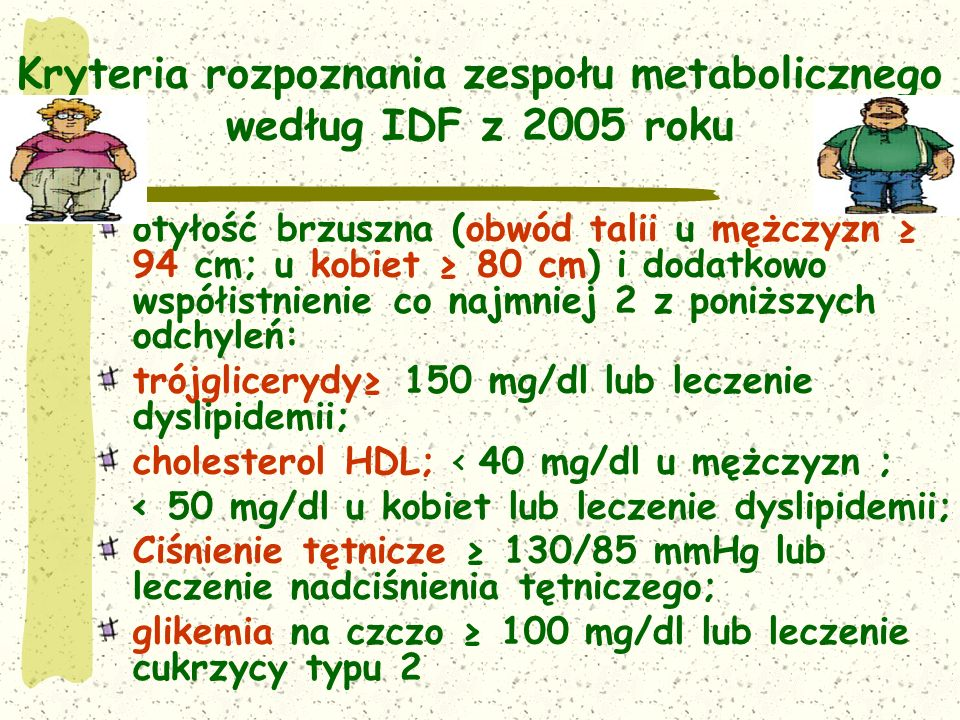 Kryteria rozpoznania zespołu metabolicznego według IDF z 2005 roku