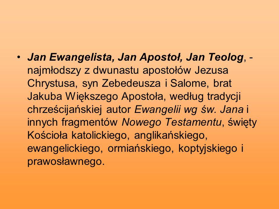 Jan Ewangelista, Jan Apostoł, Jan Teolog, - najmłodszy z dwunastu apostołów Jezusa Chrystusa, syn Zebedeusza i Salome, brat Jakuba Większego Apostoła, według tradycji chrześcijańskiej autor Ewangelii wg św.