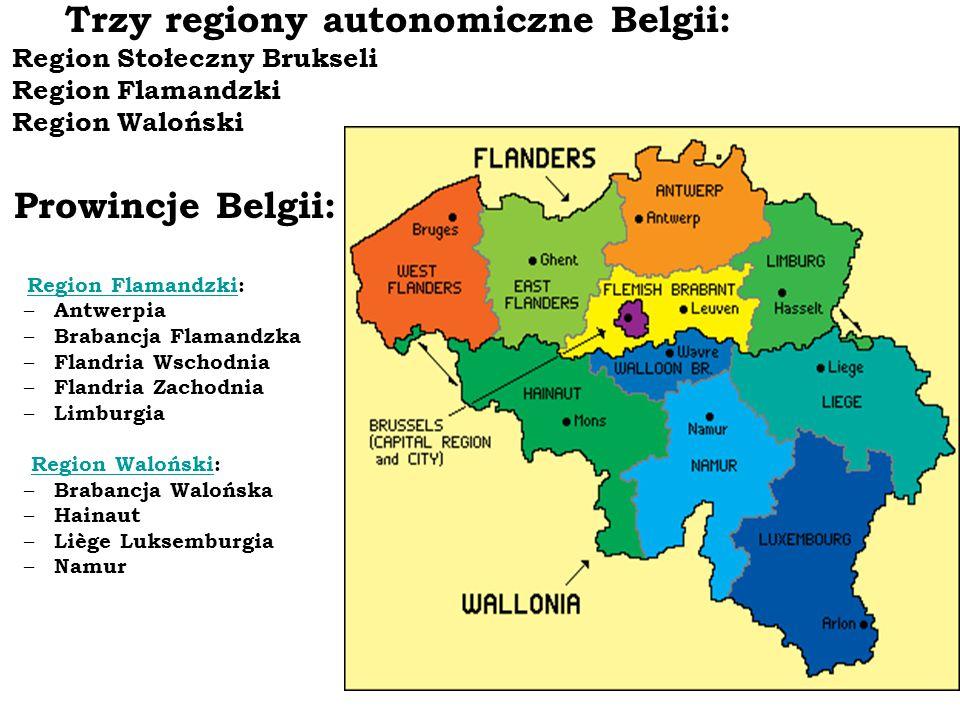 Trzy regiony autonomiczne Belgii: