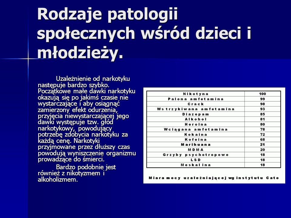 Rodzaje patologii społecznych wśród dzieci i młodzieży.