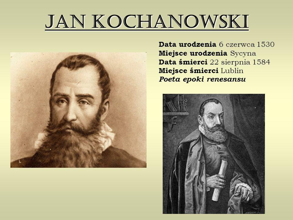 Jan Kochanowski Data urodzenia 6 czerwca 1530 Miejsce urodzenia Sycyna