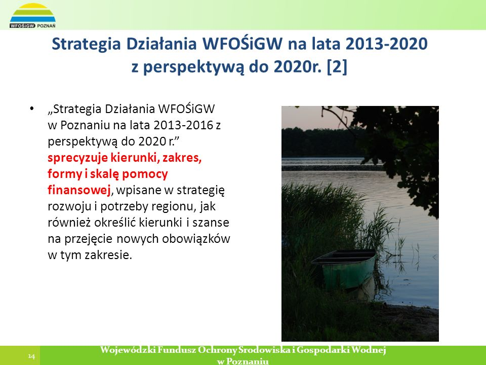 Strategia Działania WFOŚiGW na lata 2013-2020 z perspektywą do 2020r