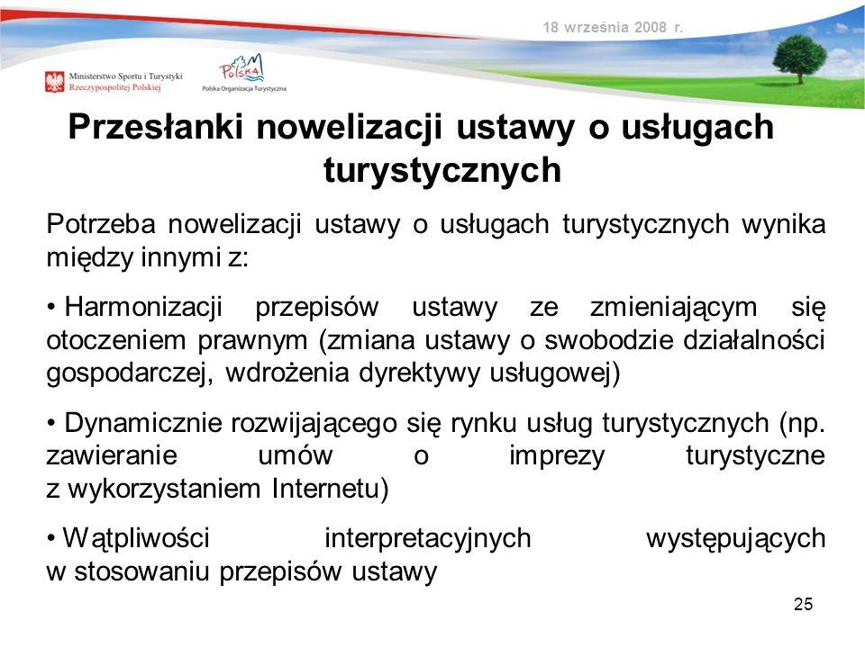 Przesłanki nowelizacji ustawy o usługach turystycznych