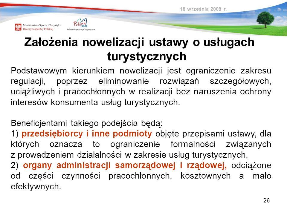 Założenia nowelizacji ustawy o usługach turystycznych