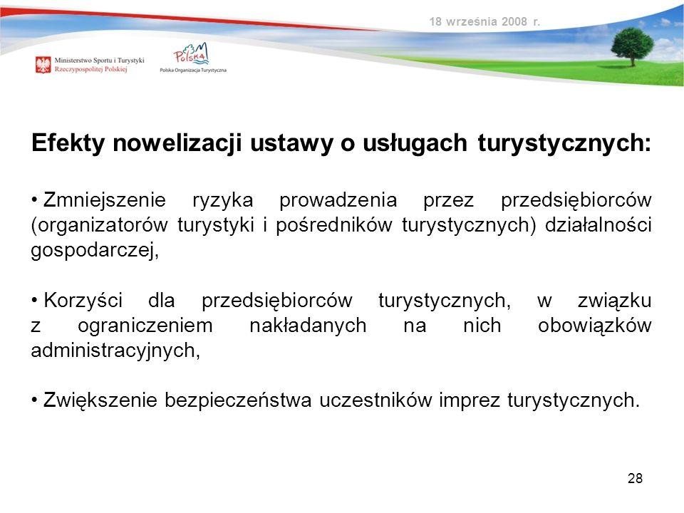 Efekty nowelizacji ustawy o usługach turystycznych: